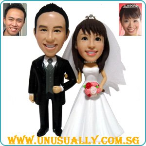 Personalized Wedding Cake Topper Clay Figurines